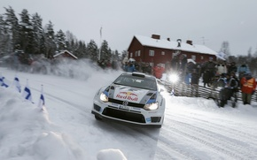 Picture Snow, Volkswagen, People, Light, Flash, Skid, WRC, Rally, The front, Polo, Fans