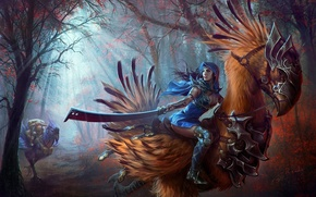 Picture sword, fantasy, forest, animals, women-warrior
