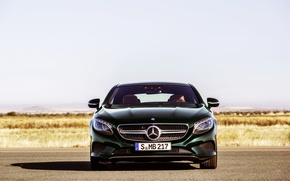 Picture Mercedes-Benz, Auto, Green, Machine, Mercedes, Logo, Coupe, The front, S-Class