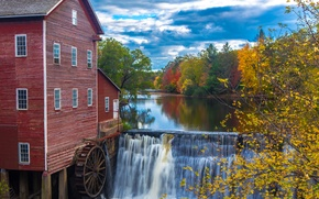 Picture autumn, forest, the sky, trees, house, river, waterfall, wheel, dam, water mill