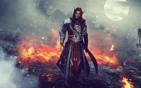 Wallpaper wow, MAG, Warcraft, red, World of Warcraft, ruins, male, elf, fire