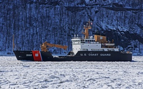 Picture river, ice, Hudson, (WLB-202), buoy tender, coast guard, CGC Willow
