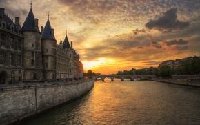 Picture sunset, bridge, river, France, Paris, the evening, hay
