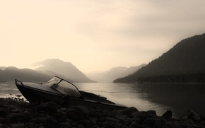 Picture mountains, lake, stones, Boat
