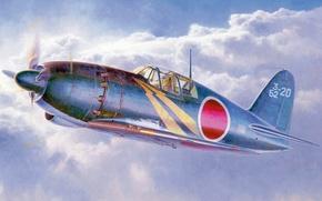Picture war, art, airplane, painting, aviation, ww2, Mitsubishi J2M