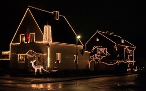 Picture decoration, night, house, Christmas