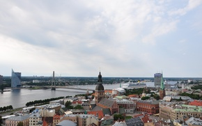 Picture summer, the sky, bridge, the city, river, building, Church, panorama, architecture, liner, the ship, capital, …