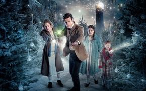 Picture winter, the sky, look, balls, light, snow, children, woman, lighthouse, tree, ball, Christmas, boy, lights, …