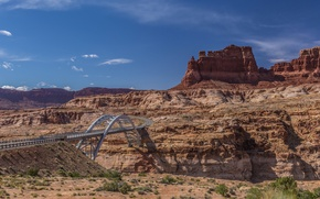 Picture the sky, mountains, bridge, rocks, canyon