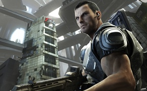 Picture look, weapons, soldiers, Tokyo, devastation, armor, megapolis, Binary Domain, Dan Marshall