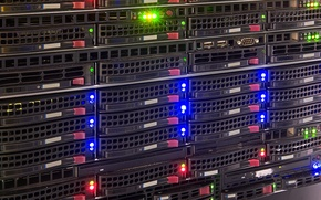 Picture lights, hard drives, data storage, data center