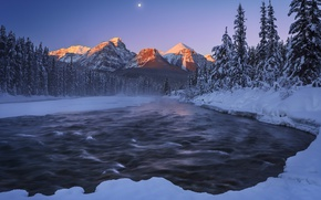 Picture river, night, nature, mountains, snow, winter, the moon