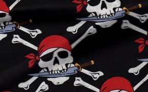 Picture background, pirate, knife, texture, bandana, Jolly Roger