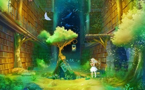 Picture girl, tree, books, anime, art, lantern, library, inz