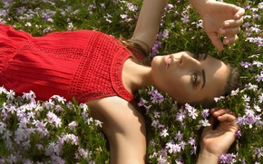 Picture grass, woman, flowers, lying, red dress