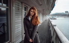 Picture girl, river, Russia, redhead, coat, George Chernyadev, Tonya
