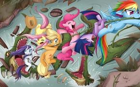 Wallpaper Applejack, by JinZhan, fanart, art, fanart, art, stream, My little pony, river, alligator, Rainbow Dash, ...