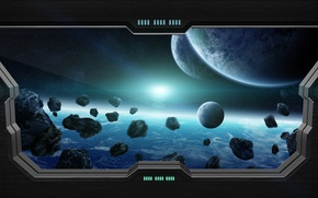 Picture light, star, planet, sci fi, meteorites, window spaceship
