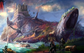 Picture sea, island, monster, art, pirates, statue, chests