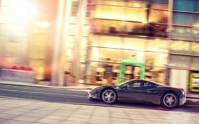 Picture street, profile, black, Ferrari, Ferrari, 458, Black, Italia, profile, Jun Dang