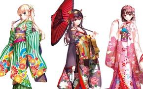 Picture waves, yukata, flower, green eyes, umbrella, anime, blue eyes, beautiful, purple eyes, pretty, sakura, cherry, …