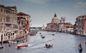 Picture Italy, Venice, boats, gondolas, The Grand Canal