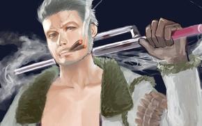 Picture smoke, sword, art, male, Anime, cigars, Anime, One Piece, blonde, Big Jackpot, Smoker, White Hunter