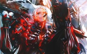 Picture smoke, armor, cigar, guy, art, super-weapons, Panorama, Kaku-San-Sei Million