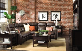 Picture flower, sofa, wall, watch, pictures, table, astina