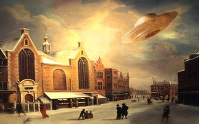 Picture fantasy, painting, UFO, old times