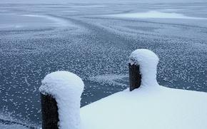 Wallpaper Pier, snow, winter