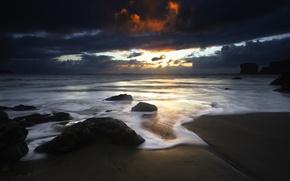 Wallpaper clouds, Shore, stones, sunset