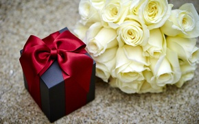 Picture flowers, box, gift, Valentine's Day, gift, roses, romantic, bow, roses, love, heart