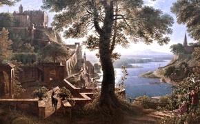 Picture picture, artist, Castle near the river, Castle riverside, Karl Friedrich Schinkel