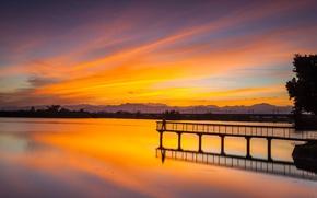 Picture sunset, lake, Pierce