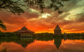 Picture the sky, trees, sunset, clouds, the city, reflection, river, island, building, the evening, Indonesia, orange, …
