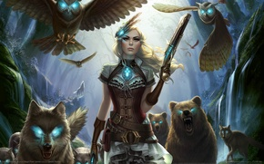 Picture girl, weapons, wolves, owls, game wallpapers, Outcast Odyssey