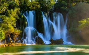 Picture water, trees, waterfalls, threads, Bosnia and Herzegovina, Kravice Falls