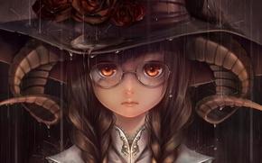 Picture girl, rain, roses, hat, art, glasses, horns, bouno satoshi