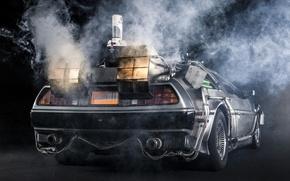 Picture background, smoke, Back to the future, The DeLorean, rear view, DeLorean, DMC-12, exhaust, Back to …