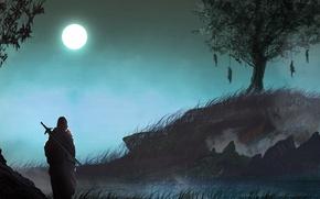 Picture dark, moon, sword, grass, fantasy, nature, Warrior, night, tree, loneliness, painting, artwork, fantasy art, gloomy, ...