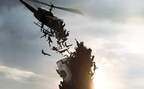Picture dark, wallpaper, Brad Pitt, Zombie, dead, man, men, death, World War Z, Plane, Lane, Zomb, …