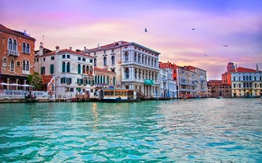Picture building, home, the evening, Italy, Venice, Italy, evening, Venice, Italia, Venice, Canal Grande, The Grand …