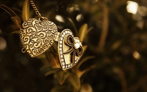 Picture macro, metal, pendant, heart, suspension, bead