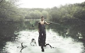 Picture rain, fishing, guy
