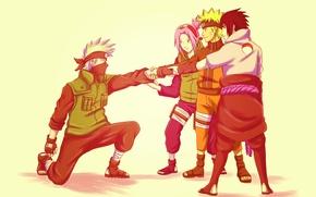 Picture naruto, art, sakura, sasuke, team 7, kakashi, espurrfect