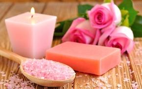 Picture flowers, candle, soap, sea salt