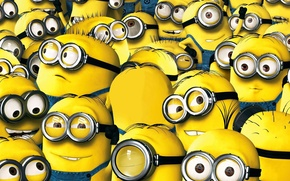 Wallpaper Minions, teeth, Cyclops, staff, Minion, smile, employees, suit, Despicablem Me 2, goggles, yellow, Universal Pictures, ...