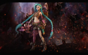 Picture girl, weapons, League of Legends, Jinx, Loose Cannon