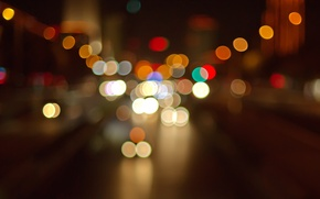Picture road, light, machine, night, the city, lights, colorful, bokeh